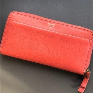 Orange leather Fossil wallet